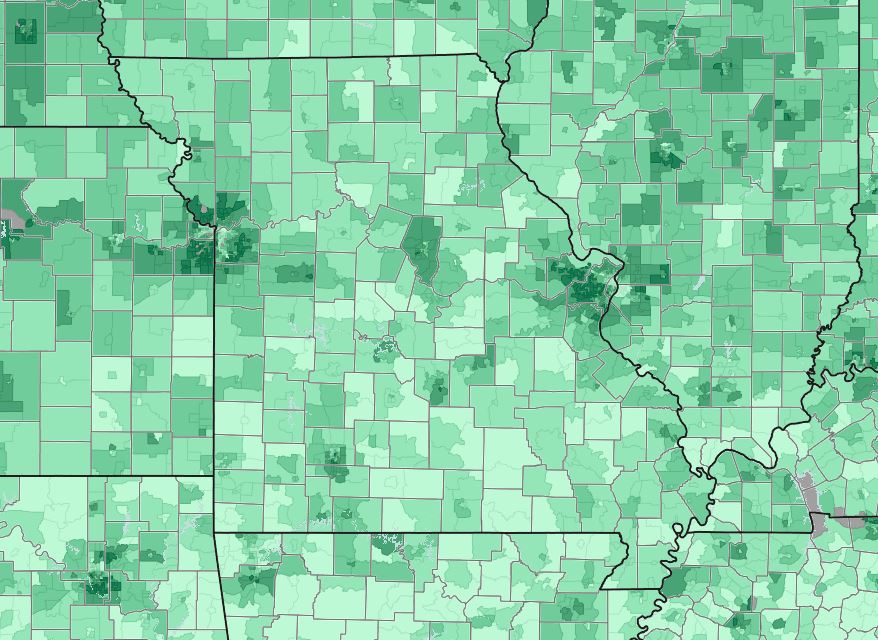 Map showing access to broadband internet by tract from the American Community Survey (2017)